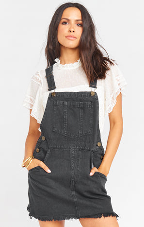 Georgia Overalls Dress ~ Washed Black
