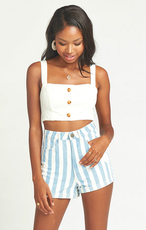 Raleigh Roll Up Shorts ~ Marina Stripe