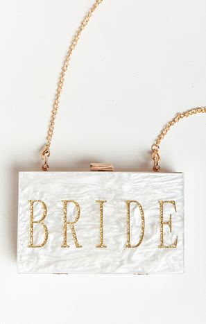 Bride Acrylic Clutch ~ White Marble