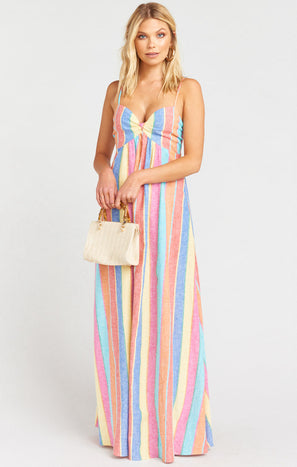 Magnolia Maxi Dress ~ Rainbow Stripe Linen