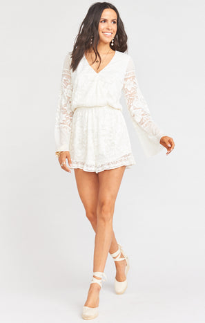 Loretta Romper ~ Moonlight Roses Lace Cream