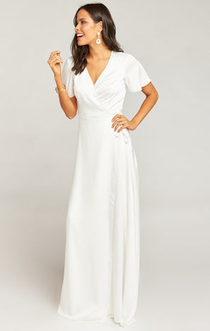 Noelle Flutter Wrap Dress ~ Ivory Luxe Satin
