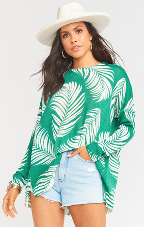 Bonfire Sweater ~ Green Boca Palm