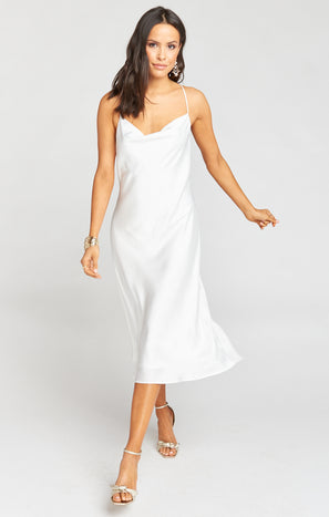 Verona Cowl Dress ~ Ivory Luxe Satin