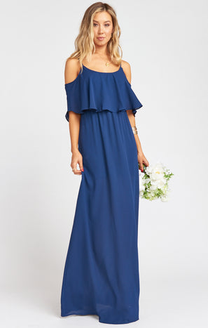 Caitlin Ruffle Maxi Dress ~ Rich Navy Crisp