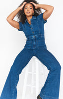 Denim Collared Jumpsuit