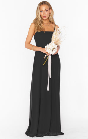 Lauren Tie Maxi Dress ~ Black Chiffon