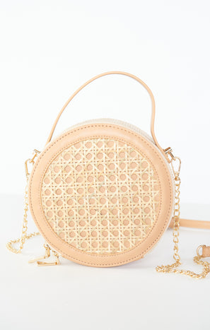 Round Woven Crossbody Bag ~ Light Tan