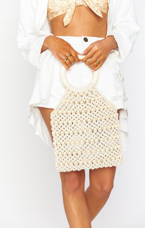Jace Beaded Knit Bag ~ Ivory