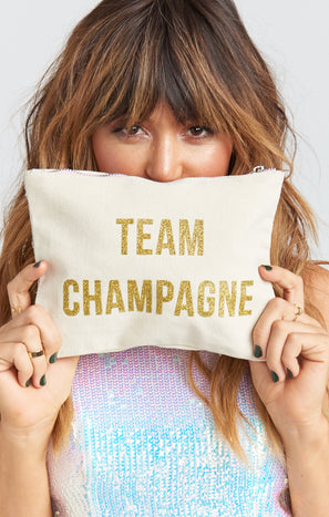 Team Champagne Makeup Bag ~ Natural/Gold