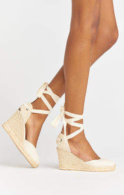 Soludos Classic Tall Wedge ~ White Linen