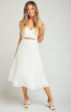 Fountain Midi Skirt ~ Charmed and Checkered Ivory