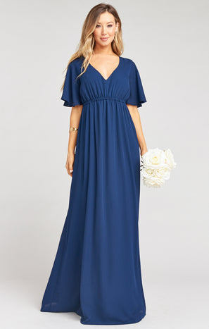 Emily Empire Maxi Dress ~ Rich Navy Crisp