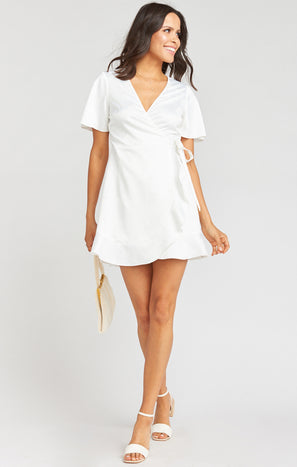 Barton Mini Wrap Dress ~ White Rose Jacquard