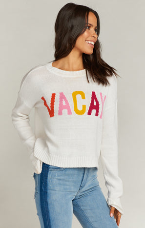 Cropped Varsity Sweater ~ Vacay Graphic