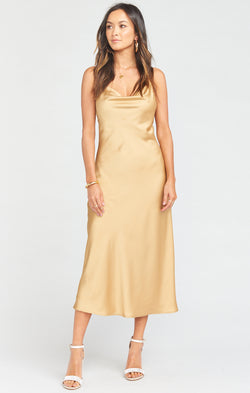 Verona Cowl Dress ~ True Gold Luxe Satin