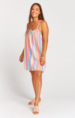 Carlotta Mini Dress ~ Rainbow Stripe Linen