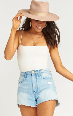Arizona High Waisted Shorts ~ Icy Blue