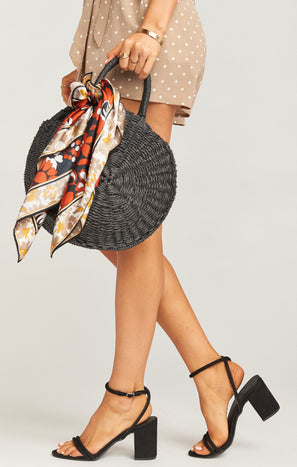 Sunburst Circle Straw Bag ~ Black