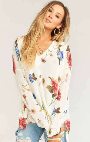Cliffside Distressed Sweater ~ Florence Floral