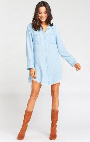 Reina Shirt Dress ~ Light Chambray