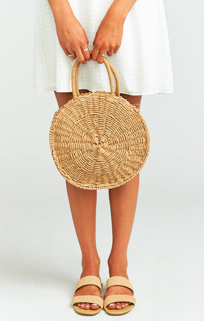 Sunburst Circle Straw Bag ~ Natural
