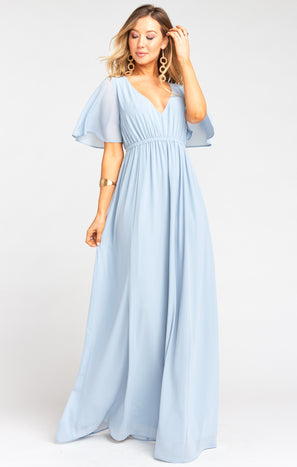 Emily Empire Maxi Dress ~ Steel Blue Chiffon