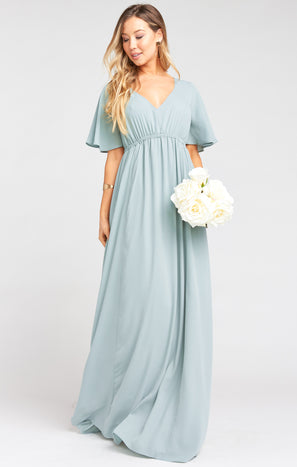 Emily Empire Maxi Dress ~ Silver Sage Crisp