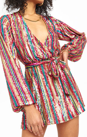 Wear Me Out Dress ~ Disco Rainbow Stripe