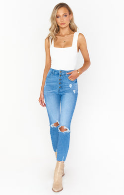 Cropped Soho Button Up Skinnies ~ Blue Bay
