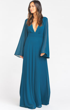 Venus Long Sleeve Flare Dress ~ Deep Jade Chiffon