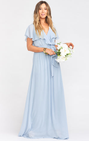 Audrey Maxi Dress ~ Steel Blue Chiffon