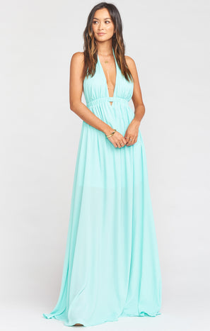 Luna Halter Dress ~ Sea Glass Crisp