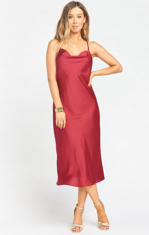Verona Cowl Dress ~ Ruby Luxe Satin