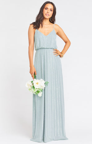Victoria Maxi Dress ~ Silver Sage Beaded