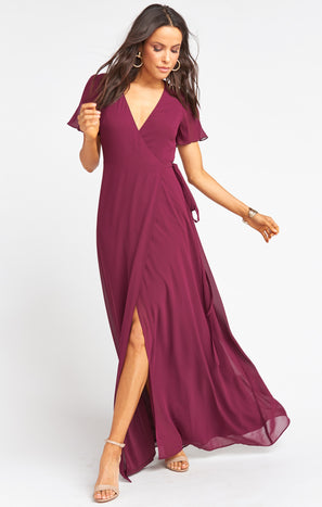 Noelle Flutter Wrap Dress ~ Merlot Chiffon