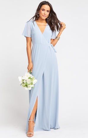 Noelle Flutter Wrap Dress ~ Steel Blue Chiffon