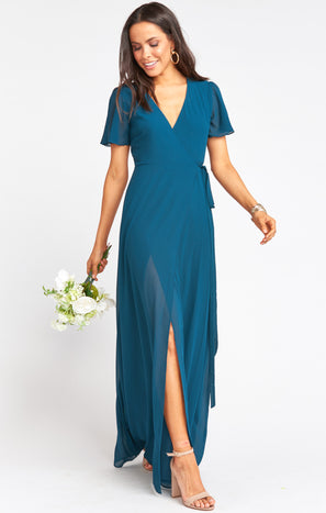 Noelle Flutter Wrap Dress ~ Deep Jade Chiffon