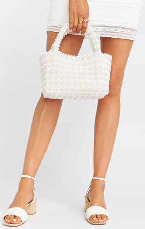 Cleobella x Mumu Clementine Bag ~ White Beaded