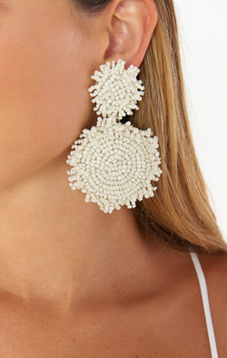 Milano Beaded Earrings ~ Ivory