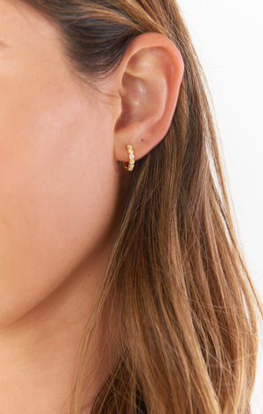 Gorjana Madison Shimmer Huggie Earrings ~ 18K Gold Plated