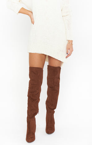 Canyons High Boot ~ Oak Faux Suede