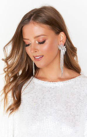 Starlight Rhinestone Earrings ~ Silver