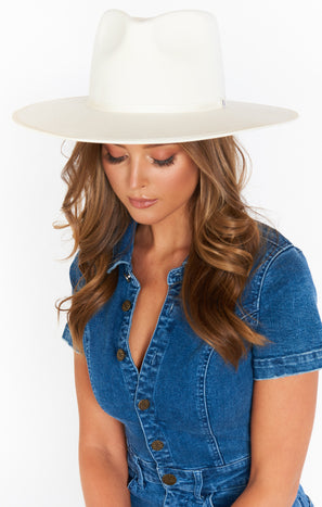 Geo Wide Brim Hat ~ White