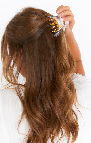 Amelia Claw Hair Clip ~ White/Gold