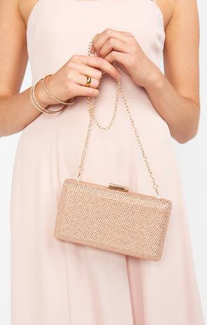 New Moon Rhinestone Clutch ~ Rose Gold