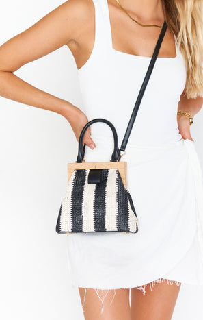 Saskia Stripe Bag ~ Black/Natural