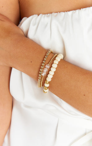 Erica Woolston MRS Bracelet ~ Gold/Clear Beaded