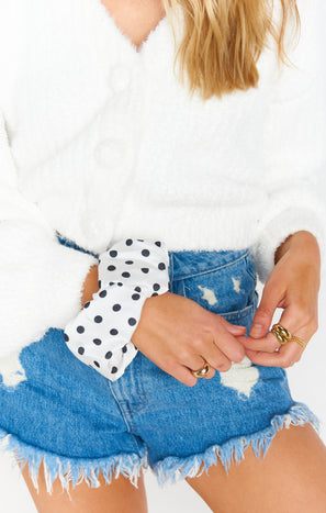 Oversized Scrunchie ~ White Spot