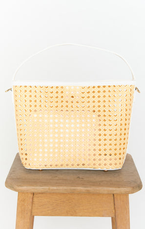 Courtney Open Weave Bag ~ Natural/White